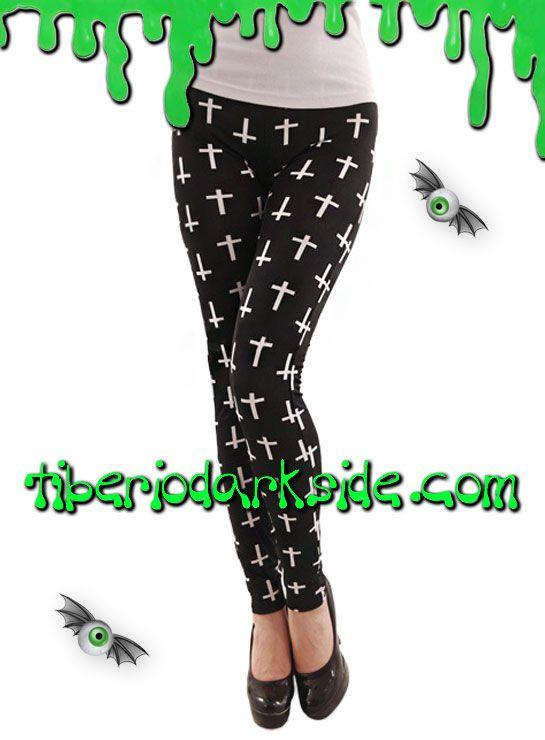 CROSS LEGGINGS  Leggings con cruces blancas (combina derechas e invertidas) sobre fondo negro. Cinturilla elástica. Materiales: polyester y spandex.  COLOR: NEGRO/BLANCO TALLA: ÚNICA  ÚNICA - vale para tallas 36 a 40 LARGO - 98 cm