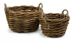 The oversized set of two round Capuchin baskets are woven from rattan and are a beautiful way to stay organized.