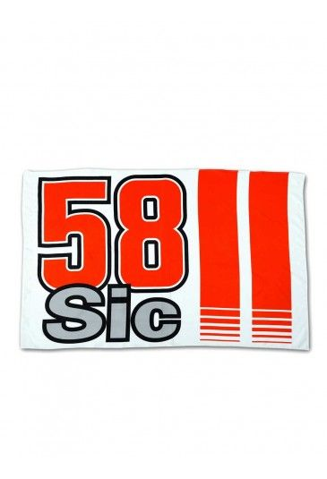 Marco Simoncelli official Flag. White Flag with the 58Sic logo and the two vertical red lines. Width 100cm x 150cm