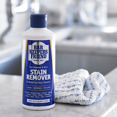 Always have a bottle under the kitchen sink - it cleans where others fail. We only choose products that give excellent results, and Bar Keeper's Friend is no exception.  Developed over 100 years ago in America, it will clean a multitude of household surfaces: stainless steel, china, brass, copper, worktops, chrome, tiles, grouting, saucepans and especially those hard to clean white sinks.