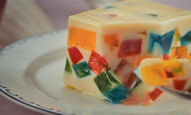 Mosaico de gelatina com leite condensado Receita   Dr. Oetker