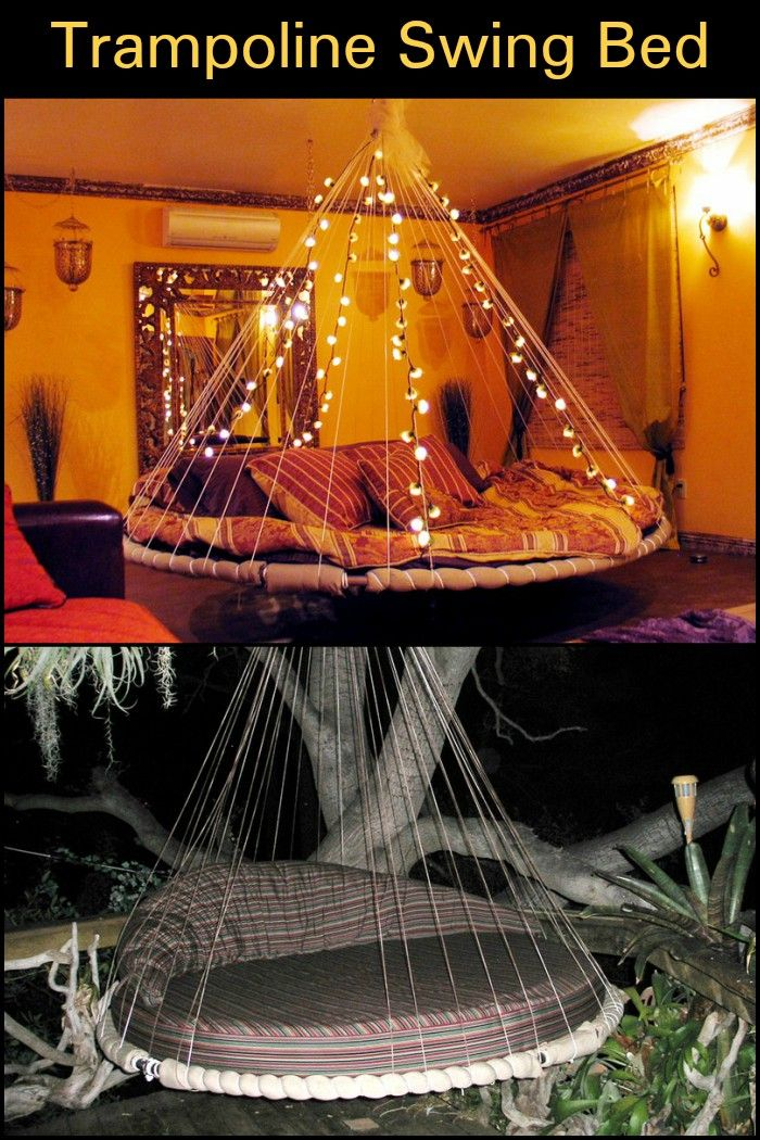Designer Diy Idea Swinging Bed Made With A Recycled Trampoline