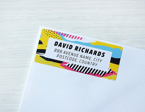 Custom Return Address Labels Doodle Pattern Colorful 80s Yellow Personalized Address Stickers