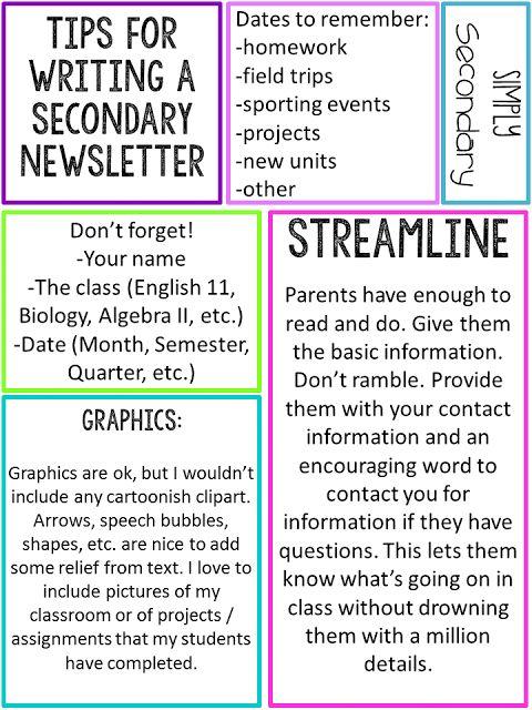 newsletter ideas for school