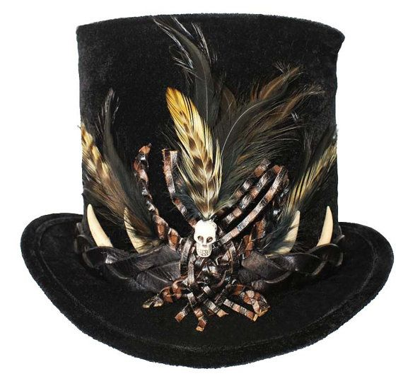 Tall Black Top Hat Voodoo Witch Doctor Skull by JenkittysCloset