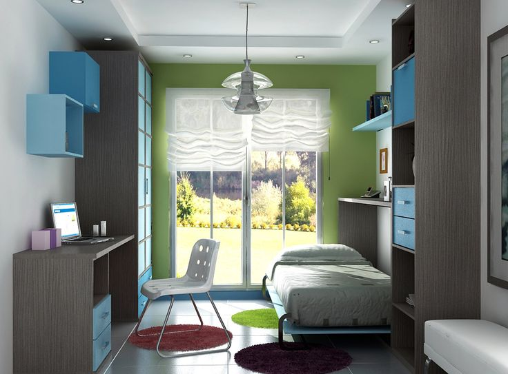 Amueblamiento juvenil cama abatible armario mesa estudio y libreria - Mobelpark