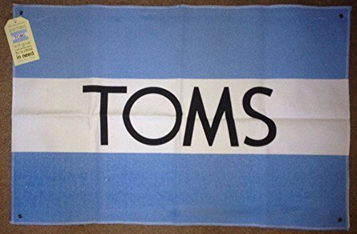 "Brand New Toms Shoes Wall Flag Canvas Authentic Baby Blue White 30"" x 20"" NWT #TomsShoes #DecorativeWallFlag30x20"