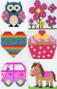 Cross Stitch Project Pack - SET of 6 COUNTED CROSS STITCH Starter Kits