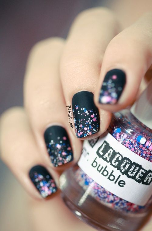 Matte Nails With Glitter