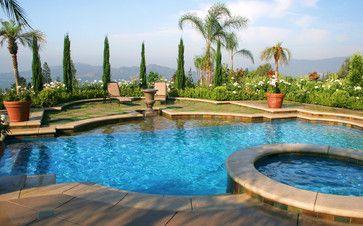Los Angeles Mediterranean Custom Swimming Pool and Spa - mediterranean - Pool - Los Angeles - LUXE Pool Builders, Los Angeles
