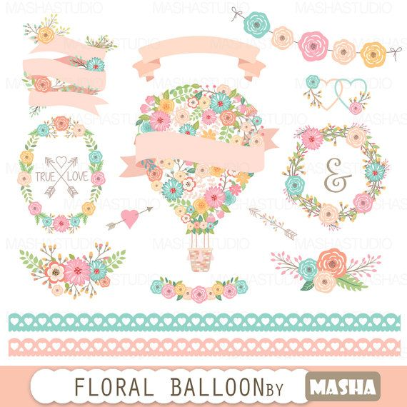 """Flower balloon clipart: """"Floral Balloon Clipart"""" with floral wreaths clipart, lace border clipart, ribbons, 16 images, 300 dpi, PNG files"""