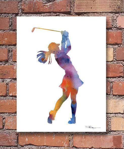 Girl Golfer Art Print  Golf Art Print  Abstract by 1GalleryAbove