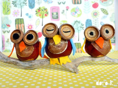 DIY: Acorn Owls with felt beaks, wings, and feet....how adorable!