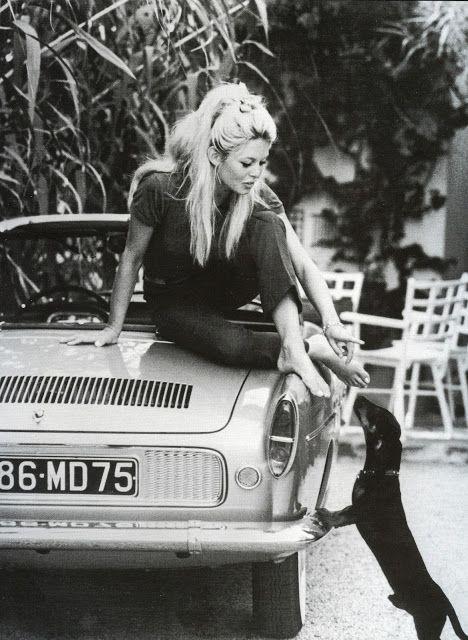 Sophia's Vintage Fashion Pic(k)s: Brigitte Bardot sits on her new Caravelle S and pl...
