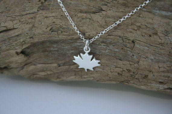 Sterling Silver Maple Leaf Necklace by 2BeadingHeartsJewels #mapleleaf #Canadian