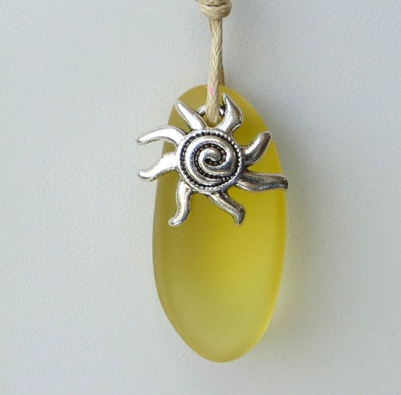 Yellow Sea Glass Sun You Are My Sunshine Necklace by by WaveofLife
