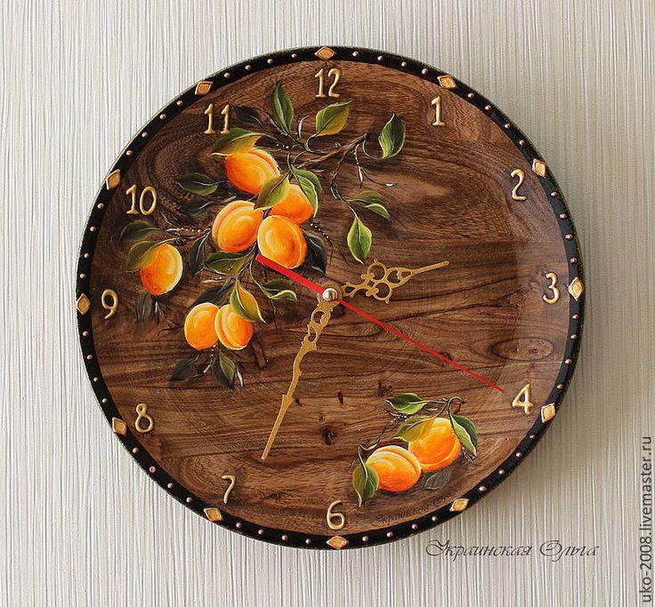 Купить Часы с абрикосами (дерево,роспись) - оранжевый, абрикосы, фрукты, лето, солнечный, часы с фруктами