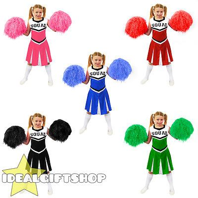 #Child's cheerleader fancy #dress costume with pom poms #black blue green pink re,  View more on the LINK: http://www.zeppy.io/product/gb/2/201624008188/