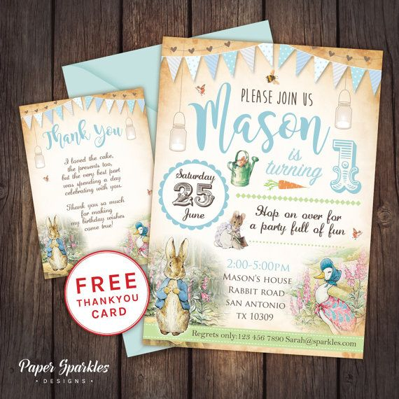 Peter Rabbit First Birthday invitation FULLY CUSTOMISABLE, digital Birthday Invitation *Comes with FREE Thank you card for a limited time
