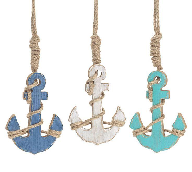 "NEW Wooden Anchor Ornament with Rope Blue, Aqua or White 6"" Burton+Burton Gift #BurtonBurton"