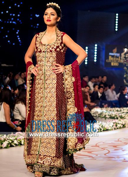 Maroon Pakistani Bridal Sharara Images 2014  Pakistani Bridal wear at Pantene Bridal Couture Week 2014. Buy Online in Los Angeles and Chicago, USA. Over 7000 Bridal Dresses to Choose From. by www.dressrepublic.com