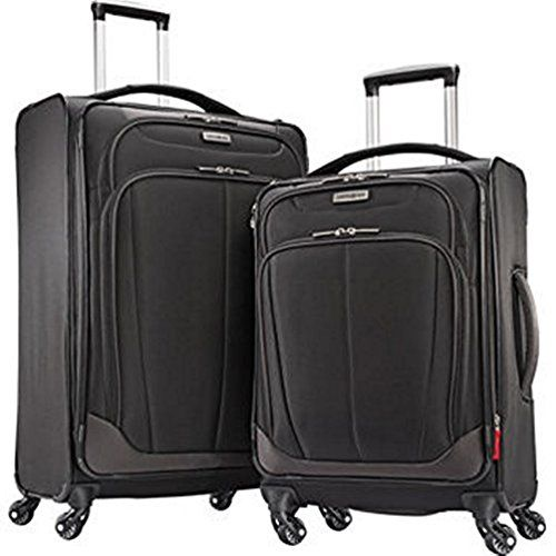 "Samsonite 2-pc Spinner Luggage Set 27"" Check-in & 21"" Carry-on Super Light Weight 4 Wheel Suitcase -Black"