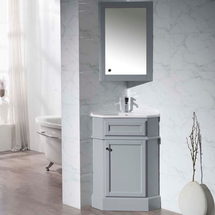 Photo Gallery Website Stufurhome Hampton Gray Corner Bathroom Vanity with Medicine Cabinet TY GY