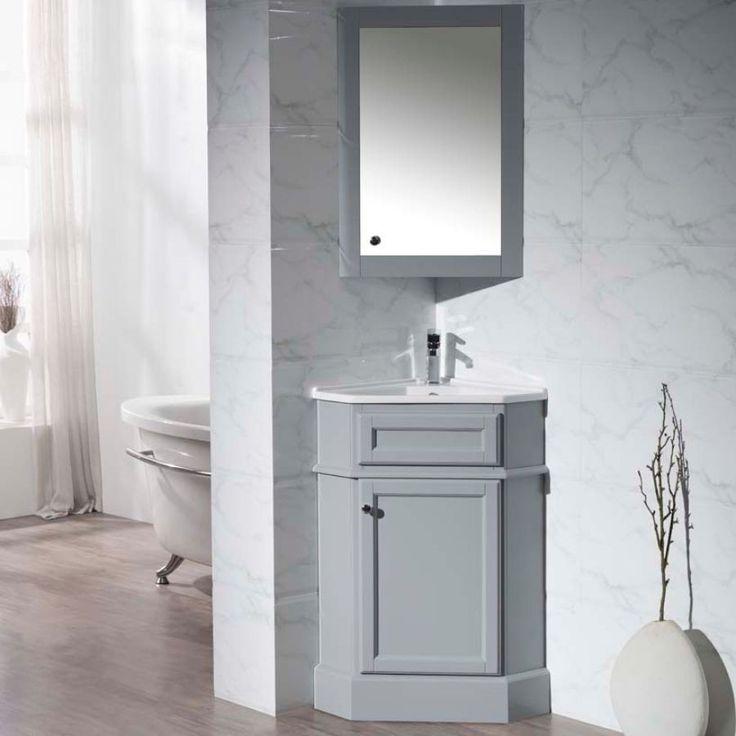 "Stufurhome 27"" Hampton Gray Corner Bathroom Vanity with Medicine Cabinet - TY-415GY"