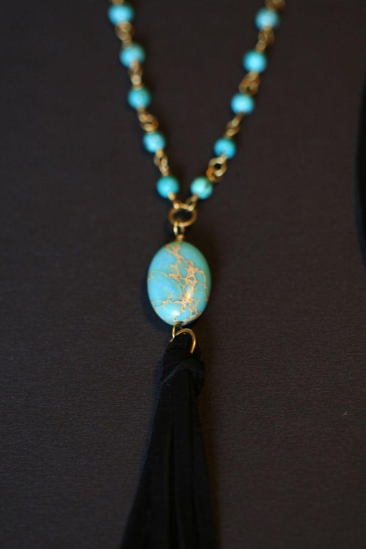 ~ Turquoise necklace ~ Halsband i turkos, svart och mässing via LL Smycken.