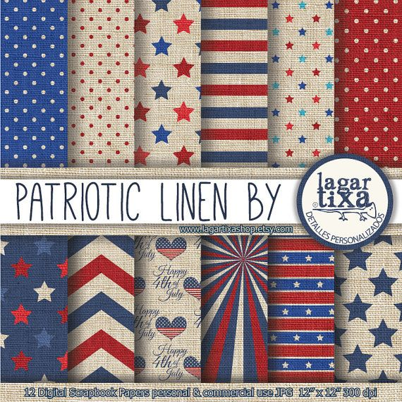 Backgrounds America Independence Day 4th of July Patriotic Colored Linen Digital Paper Stars Stripes red scrapbooking invitations patterns