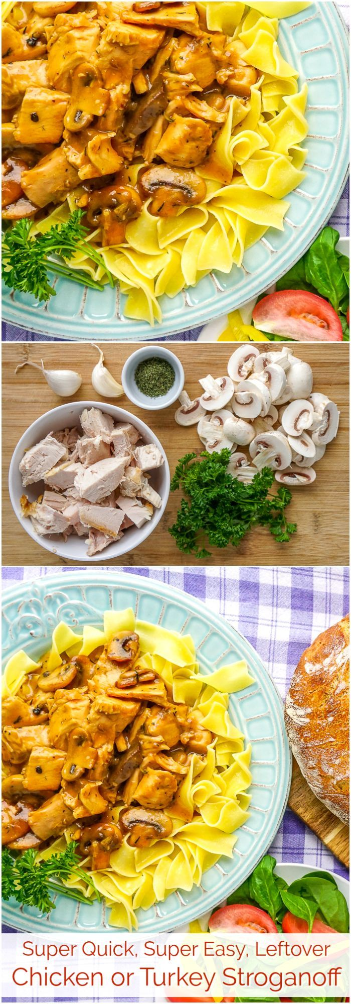 Easy Leftover Chicken or Turkey Stroganoff. Super Quick & Easy with just few simple ingredients! One of the easiest and most delicious leftover turkey or chicken dinners we have ever featured in 10 years here on Rock Recipes.  #leftovers #leftoverchicken #leftoverturkey #thanksgivingleftovers #christmasleftovers #quickandeasymeals #budgetmeals #mealplanning