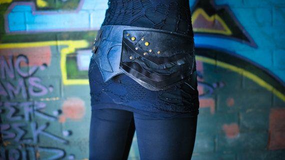 Black Layered Leather Pocket Belt by Spunkhyde on Etsy
