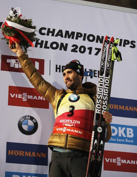 Martin Fourcade of France celebrates after winning gold in the Men's 12.5km pursuit competition of the IBU World Championships Biathlon 2017 at the Biathlon Stadium Hochfilzen  on February 12, 2017 in Hochfilzen, Austria.