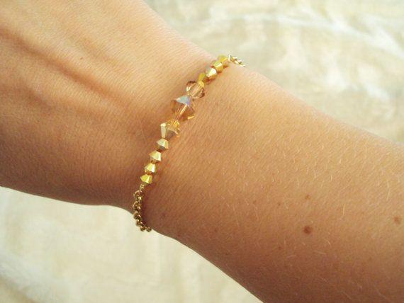Swarovski golden crystal bracelet with gold plated chain