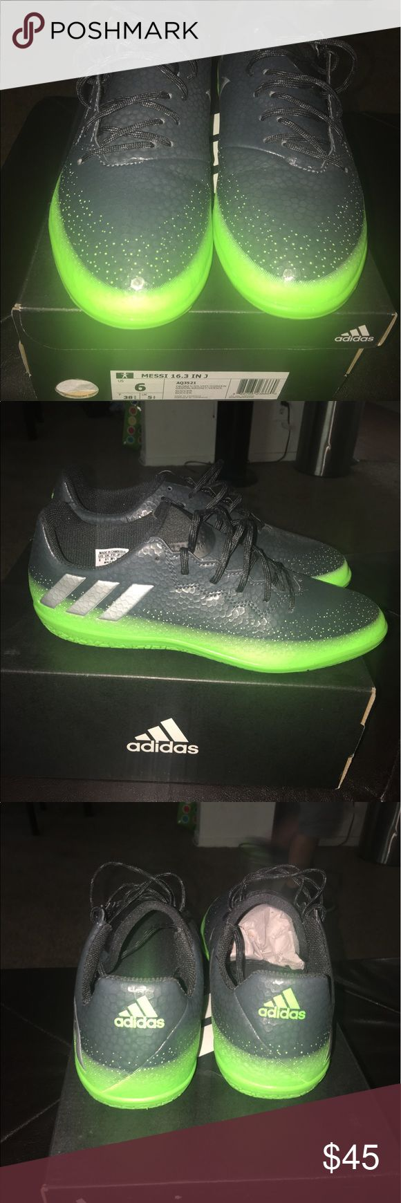 Indoor soccer shoes 🚨SOLD🚨 Adidas indoor soccer shoes named after the famous soccer player MESSI they are in great condition only worn once. Size 6y adidas Shoes Sneakers