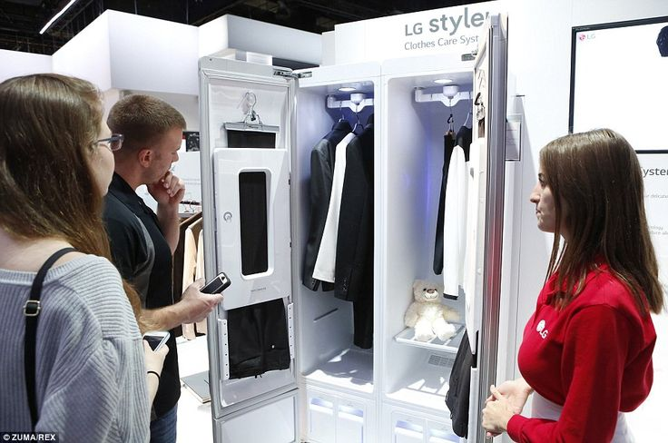 No more washing clothes? The LG Styler wardrobe (pictured) is fitted with LG's Clothes Care System, designed to refresh clothes without water or detergents using its TrueSteam technology. This consists of hot steam spray technology, which LG uses in washers and dryers, and is said to get rid of 99.9 per cent of the germs and bacteria