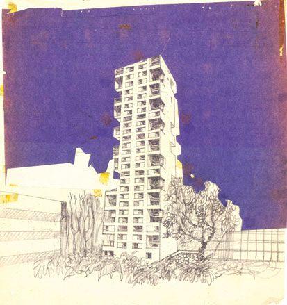 One of  Charles Correa's drawings of the Kanchanjunga apartment block