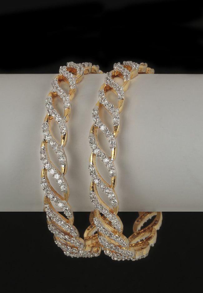 White and Golden American Diamond Studded Bangles: JNJ790