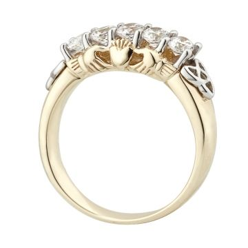 A unique Claddagh Ring designed in 10k gold. A row of sparkling CZ's with the artistic placement of Trinity knots and claddaghs on the band. Sizes 5 - 9 ½. Made in Ireland by Solvar and is hallmarked in the Assay Office in Dublin Castle.