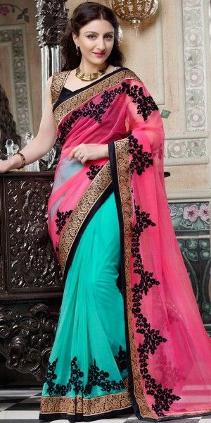 Soha Ali Khan Pink And Green Georgette Saree With Blouse.