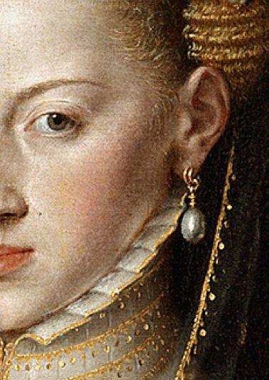 La emperatriz María de Austria, esposa de Maximiliano II, Antonio Moro, 1551, Museo del Prado, Madrid (detalle)