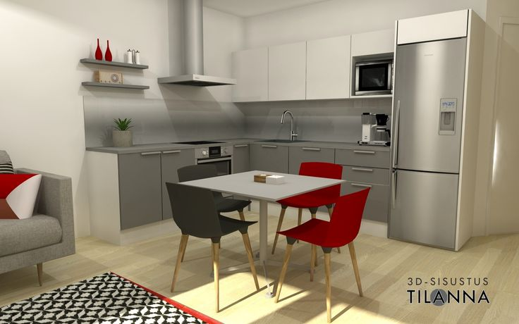3D-visualisointi ennakkomarkkinoinnissa olevaan uudiskohteeseen/ moderni - skandinaavinen keittiö, Puustellin keittiö, harmaat maalatut kiintokalusteet, harmaa taso, välitilassa alumiini, punainen tehosteväri muissa kalusteissa ja tekstiileissä/ Kone ja Rakennuspalvelu Kara Oy, Paimio/ 3D-sisustus Tilanna