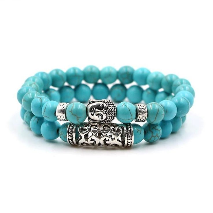 2 PC Crystal Sky Blue stone Buddha meditation Energy Bracelet