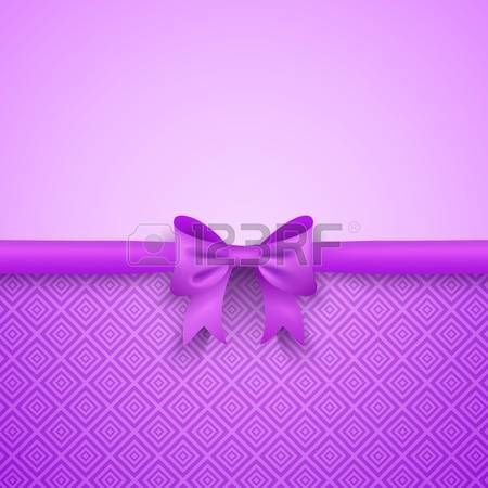 Romantic purple background with cute bow and pattern Pretty design Greeting card wallpaper for valen Stock Photo