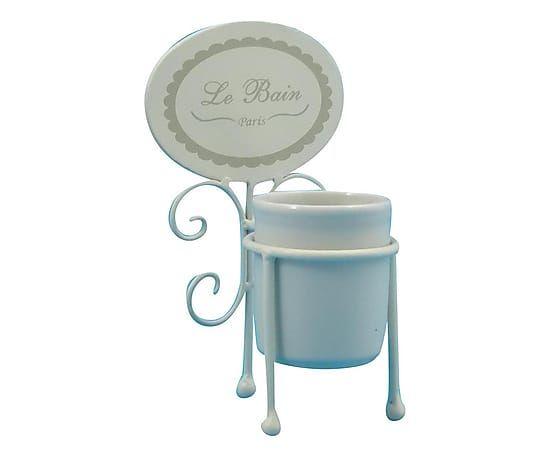 Portaspazzolini in ferro e ceramica Le Bain - 13x23x12 cm