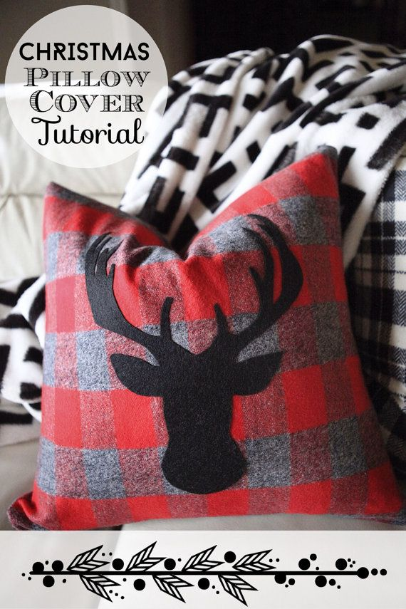 PDF Tutorial: Christmas Pillow Cover with a Deer Head Silhouette Appliqué by NellieAndPhoebs.com