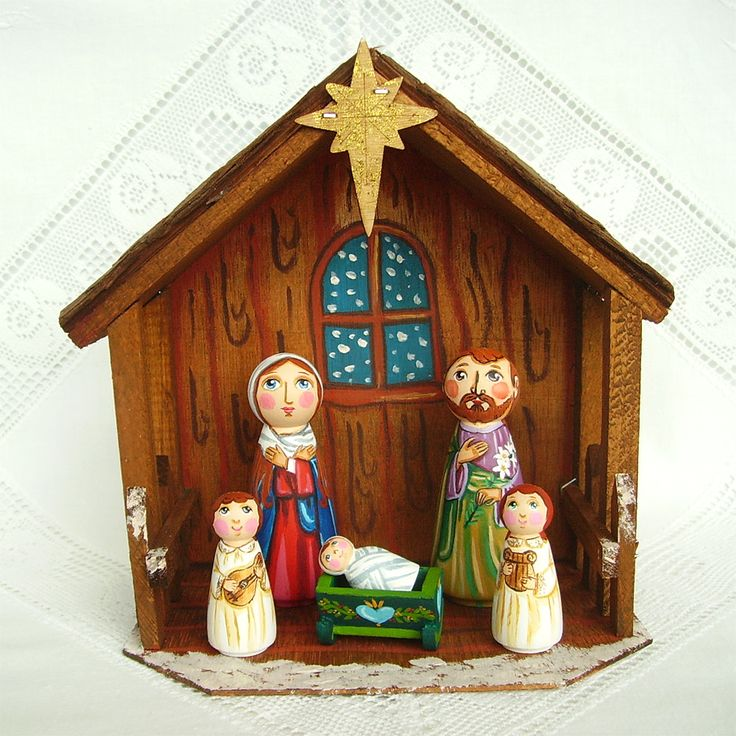 Christmas Nativity Set Holy Family Three Kings Painted