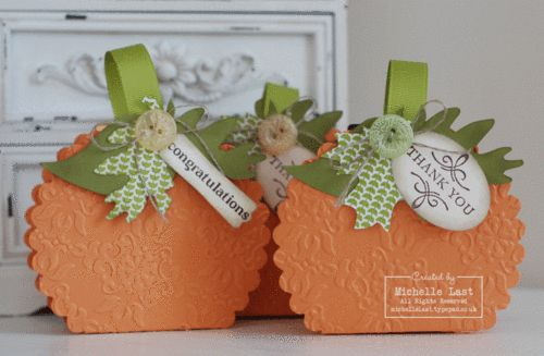 Halloween Pumpkins using the scallop circle die from Stampin Up! By:michellelast