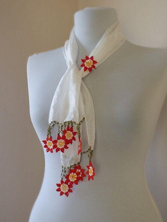 Turkish authentic scarf, Turkish Yemeni, Silk  Turkish oya scarf Hand crocheted lace head scarf ethnic / bandana /turban