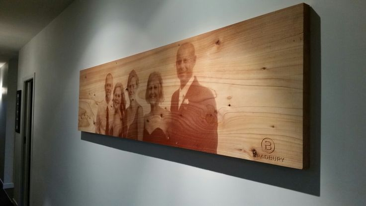 family portrait on macrocarpa slab